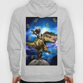 Cat Kitty Travel through Galaxy on Dinosaur T-rex with Guns and Golden chains Swag money dollars Hoody