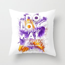 Bible verse with feathers, Scripture verses, Feather art, Purple feathers, Boho style, Micah 6:8 Throw Pillow