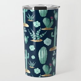 CACTUS & SUCCULENT | Desert Plants on Navy Blue Travel Mug