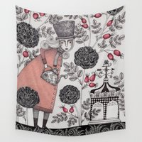 winter Wall Tapestries featuring Winter Garden by Judith Clay