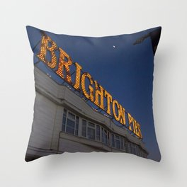 Brighton Pier at Night Throw Pillow