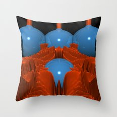 Red Blue Macro Fractal Throw Pillow