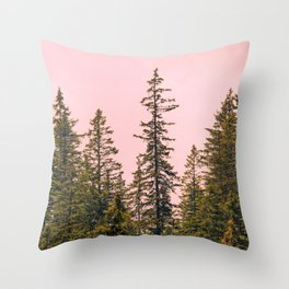 Tall trees against pink sky Throw Pillow