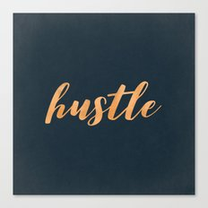 Hustle Text - Copper Bronze Gold and Navy Typography Quote Canvas Print