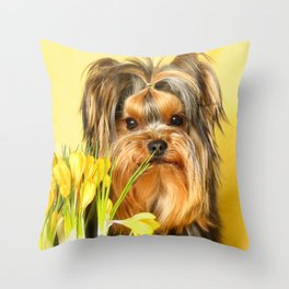 Spring Yellow Crocuses With Yorkie Puppy #decor #society6 Throw Pillow