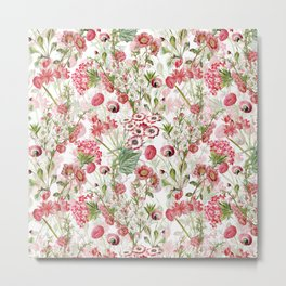 Vintage & Shabby Chic - Pink and White Summer Flowers Garden Metal Print