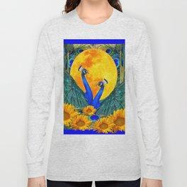 BLUE PEACOCKS MOON & FLOWERS FANTASY ART Long Sleeve T-shirt
