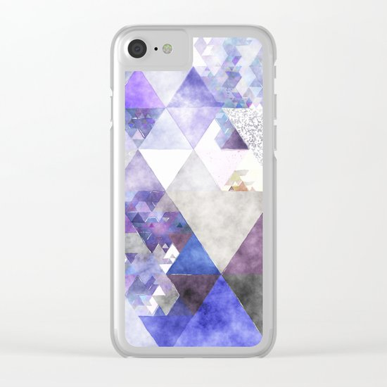 Purple and silver glitter triangle pattern- Abstract watercolor illustration Clear iPhone Case