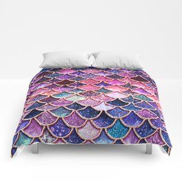 Pink & Purple Trendy Glitter Mermaid Scales Comforters