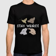 Stay Weird! MEDIUM Black Mens Fitted Tee