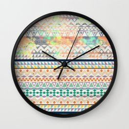 Blue Orange Andes Abstract Aztec Pattern Fashion watercolors Wall Clock