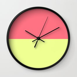 Modern neon lime yellow blush pink coral colorblock Wall Clock