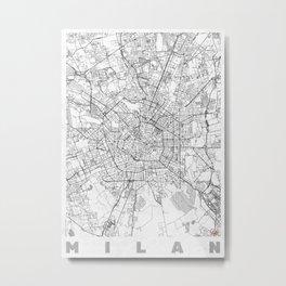 Milan Map Line Metal Print