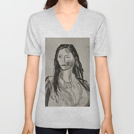 Portrait of a Woman in Black and White Unisex V-Neck