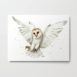 Barn Owl Flying Watercolor | Wildlife Animals Metal Print