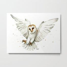 Barn Owl Flying Watercolor | Wildlife Animals Metal Print