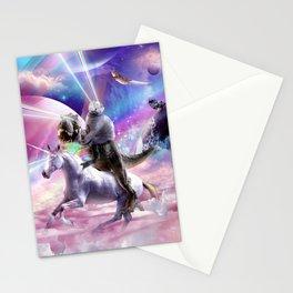 Laser Eyes Space Cat On Dinosaur Unicorn - Rainbow Stationery Cards
