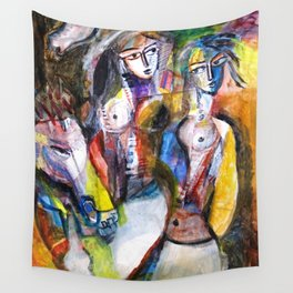 Two Woman and Horses, nude figurative portrait painting Wall Tapestry