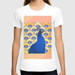 CONTEMPORARY BLUE ART DECO PEACOCK PINK-YELLOW ART T-shirt
