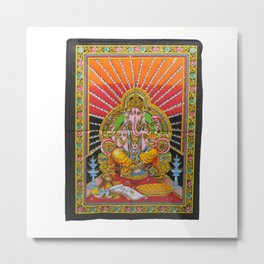 Lord Ganesha Deity Art Sequin Work Indian God Batik Wall Hanging  Metal Print