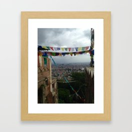 Prayers flags over Kathmandu Framed Art Print