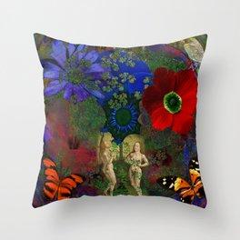 Adam and Eve's Harmonious Earth Throw Pillow