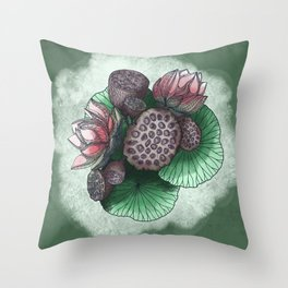 Lotus Flower and Seed Throw Pillow