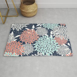 Floral Prints and Leaves, Navy, Aqua Coral and Gray Rug