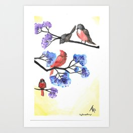 Red Birds and Crepe Myrtles Art Print