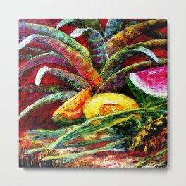 Melons, Sunflowers, Bromeliad Still Life Metal Print
