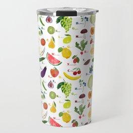 English fruit and vegetables alphabet Travel Mug
