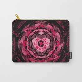 Gothic Pink and Black Heart Mandala Carry-All Pouch