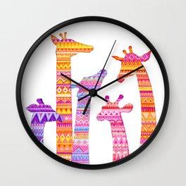 Giraffe Silhouettes in Colorful Tribal Print Wall Clock