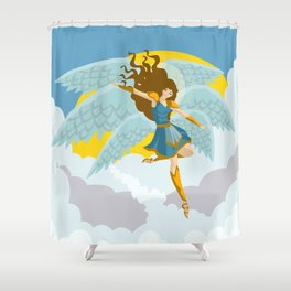woman angel flying archangel vector art Shower Curtain