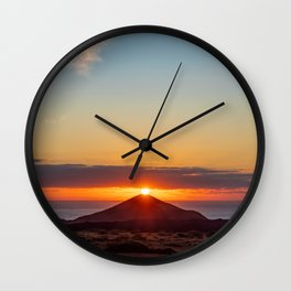 Sunset on top of volcano Wall Clock