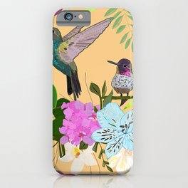 Orchid, alstroemeria and cute humming birds pattern iPhone Case