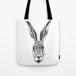 Black and White Big Stare Hare Tote Bag