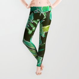Irish Garden, Lime Green Flowers Dance in Joy Leggings