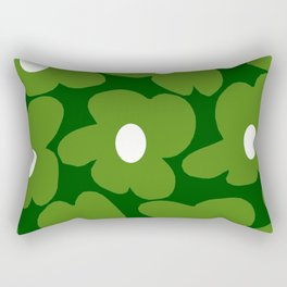 Spring Green Retro Flowers Dark Green Background #decor #society6 #buyart Rectangular Pillow