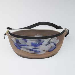 Cobalt and White Sea Glass Fanny Pack