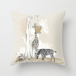 Zoo : Tigre, Zèbre, Girafe Throw Pillow
