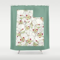 utah Shower Curtains featuring Utah in Flowers by Ursula Rodgers