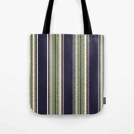 Navy blue and sage green stripes Tote Bag