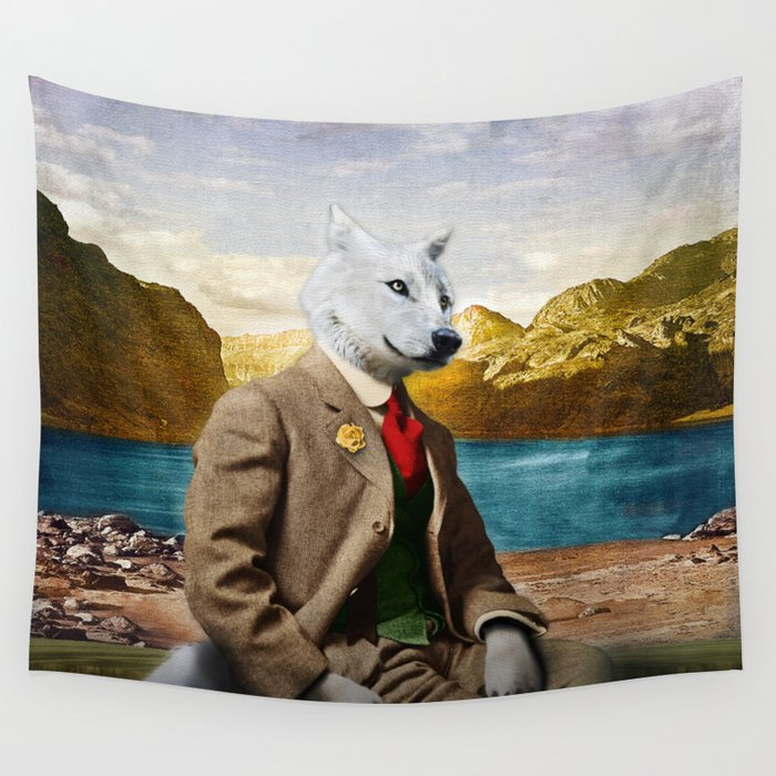Mr. Wolf Relaxing at the Lake Wall Tapestry