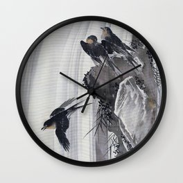 Swallows By A Waterfall - Digital Remastered Edition Wall Clock