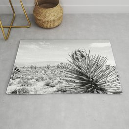 Cactus Wildflower // Black and White Desert Landscape Joshua Tree Rug