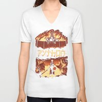 monty python V-neck T-shirts featuring Attack on Python by Dave Collinson