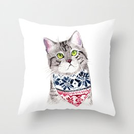 The Cat with Lovely Bandana Throw Pillow