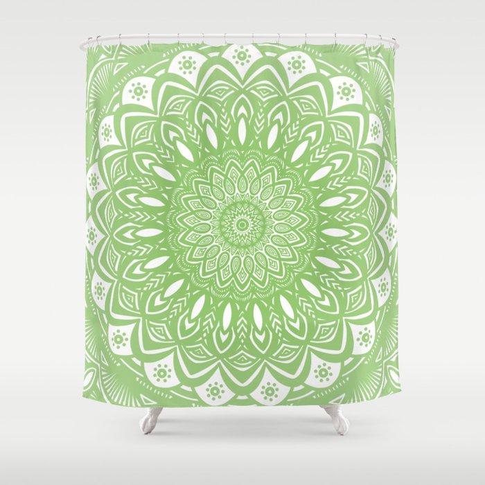 Light Lime Green Mandala Simple Minimal Minimalistic Shower Curtain ...