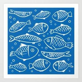 Fish blue white Art Print